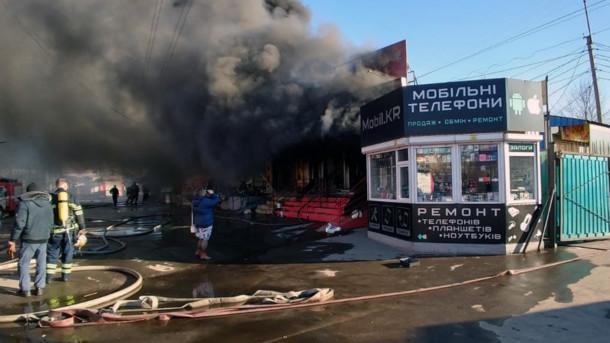 3 марта на Центральном рынке Кривого Рога вспыхнул пожар