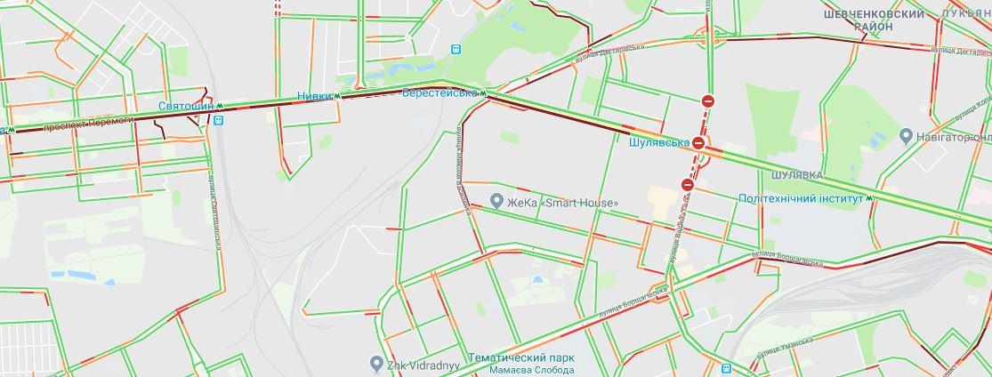 Дорожная ситуация в Киеве по данным сервиса Google.Maps
