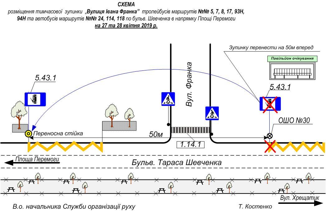Остановку «Улица Ивана Франко» временноперенесут на 50 метров вперед в направлении площади Победы