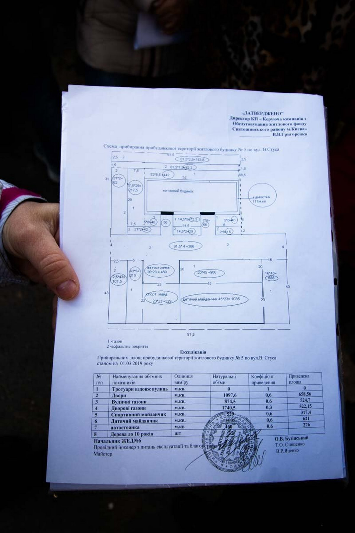 Документ, выданный жильцам Управляющей компанией по обслуживанию жилого фонда Святошинского района