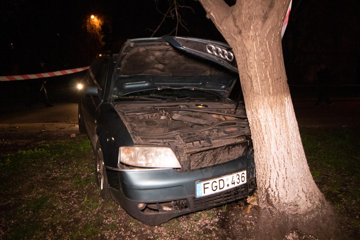 На улице Курнатовской Audi влетела в дерево