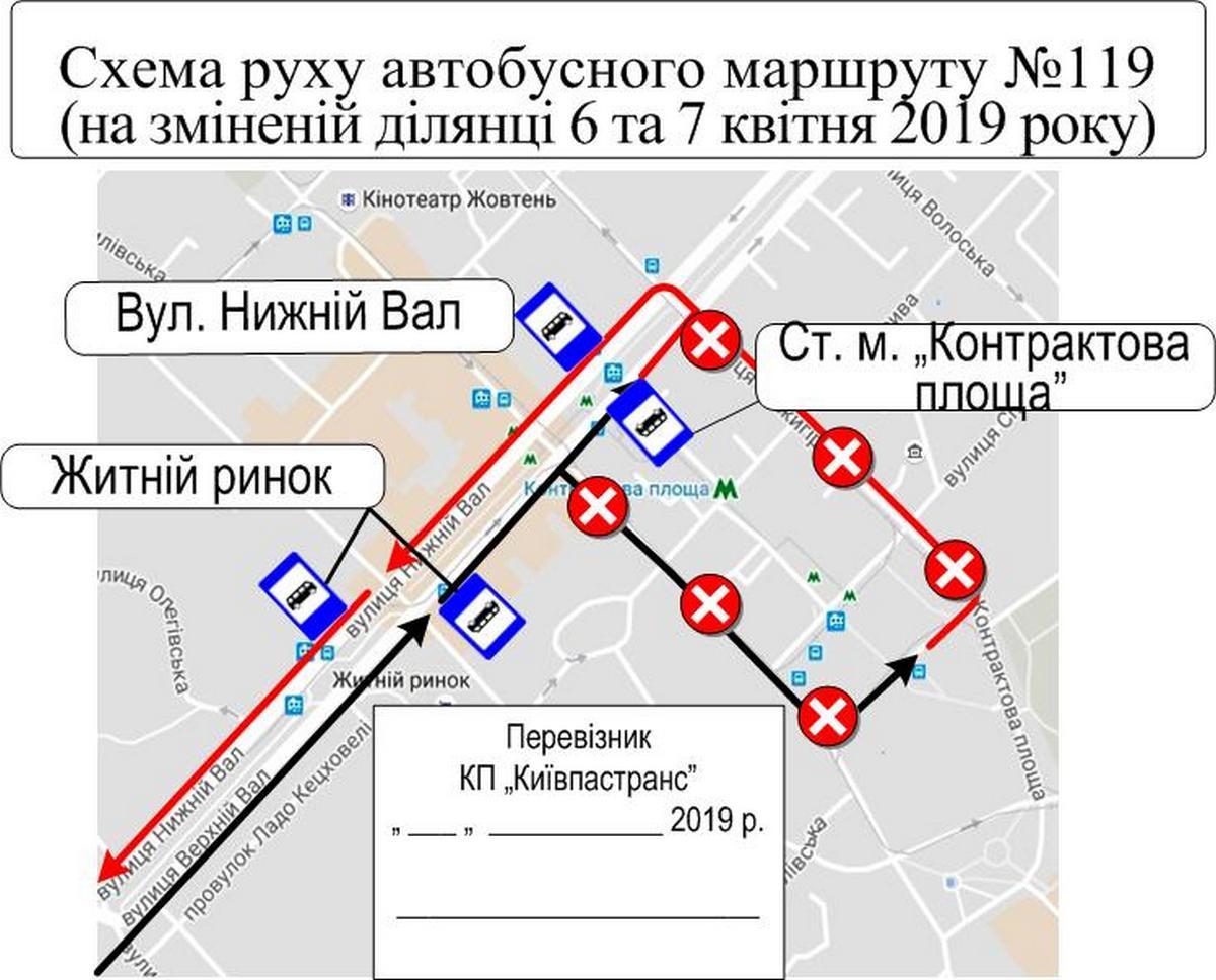 Схема движения автобусов маршрута№119