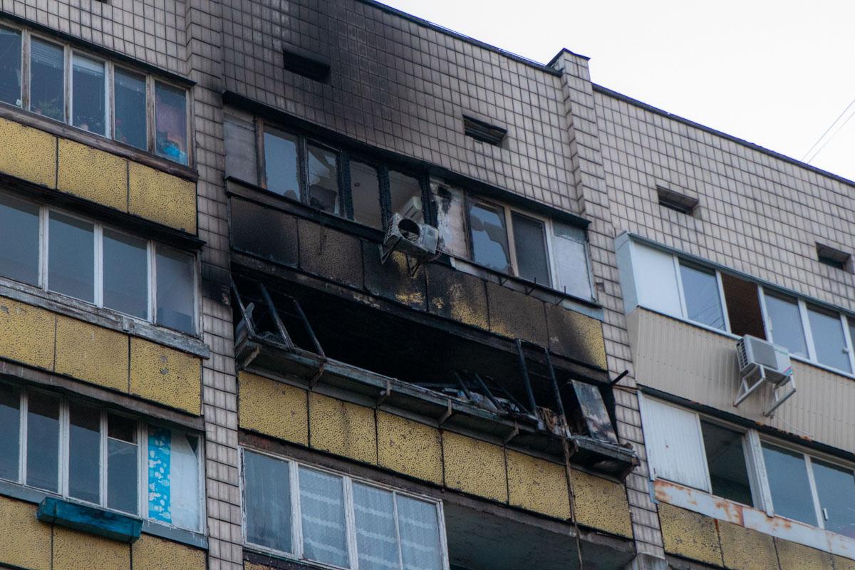 Пожар случился на 8 этаже