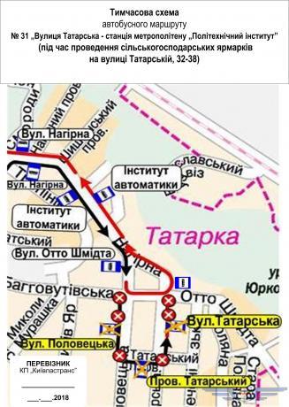 Временная схема движения автобуса №31
