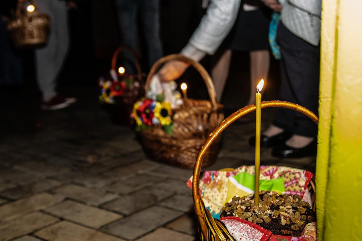 Церковная свеча в принесенной пасхальной корзине