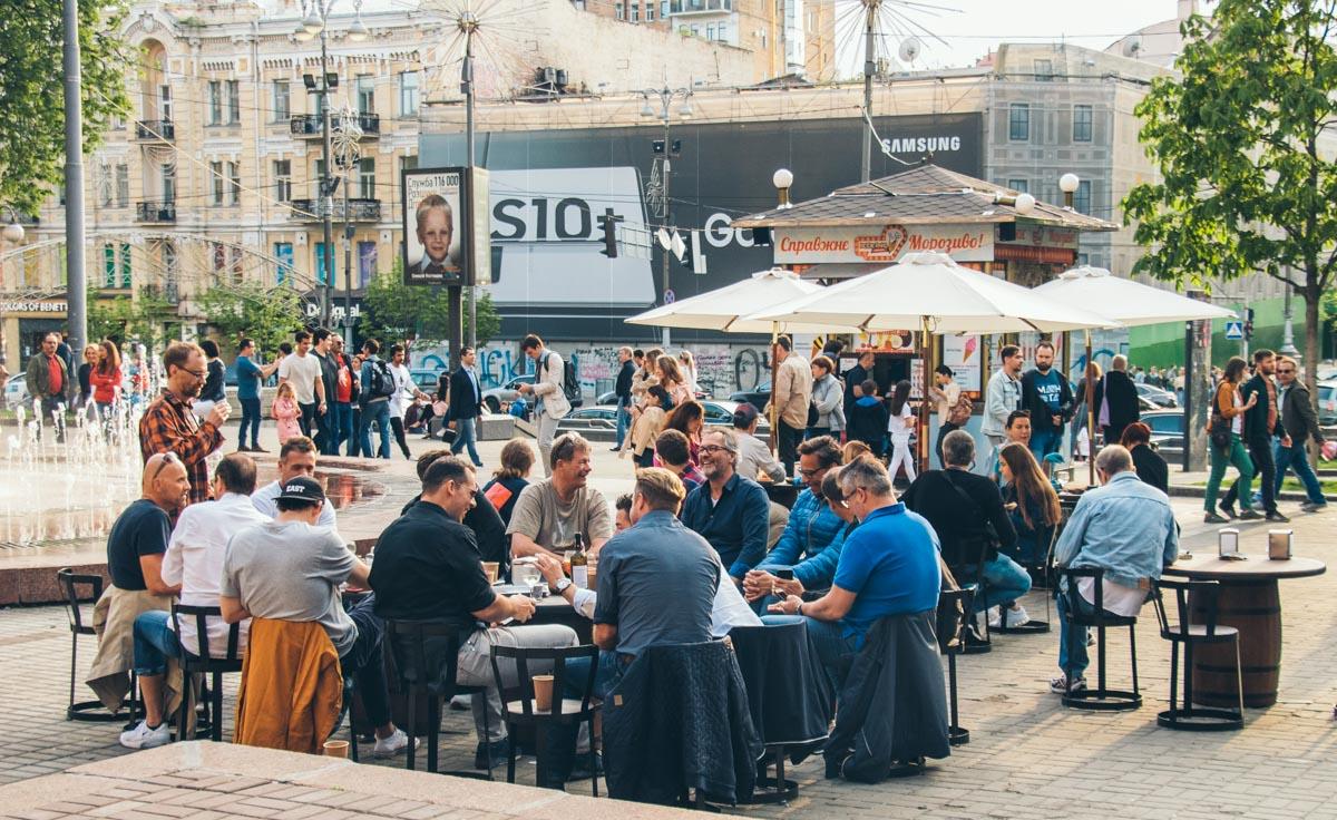 В центре Киева сложно было найти свободный столик