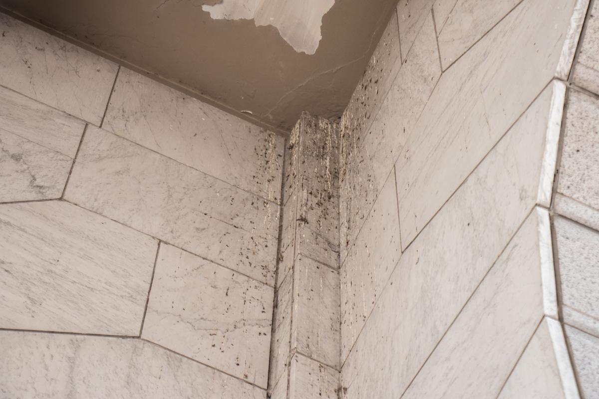 На основании памятника осела пыль и грязь