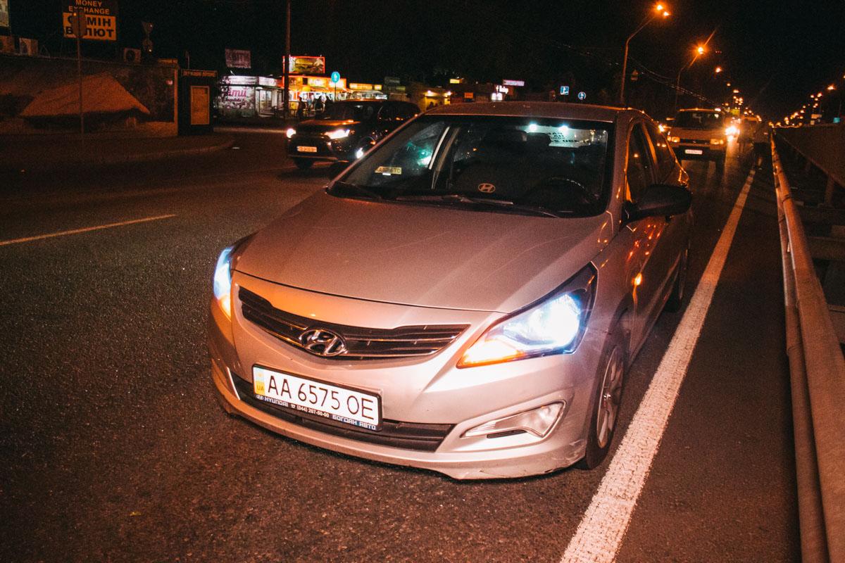 Мотоциклист зацепил Hyundai и упал