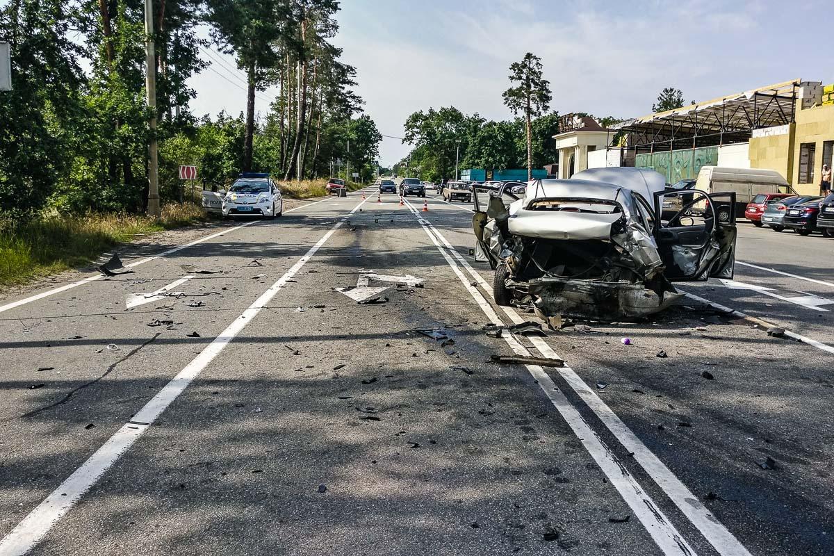 На Столичном шоссе произошла авария с участием автомобилей Daewoo Lanos, Volkswagen Passat, Honda Accord и Hyundai ix35