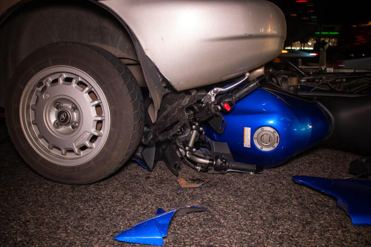 Мотоциклист отделался относительно не серьезными травмами
