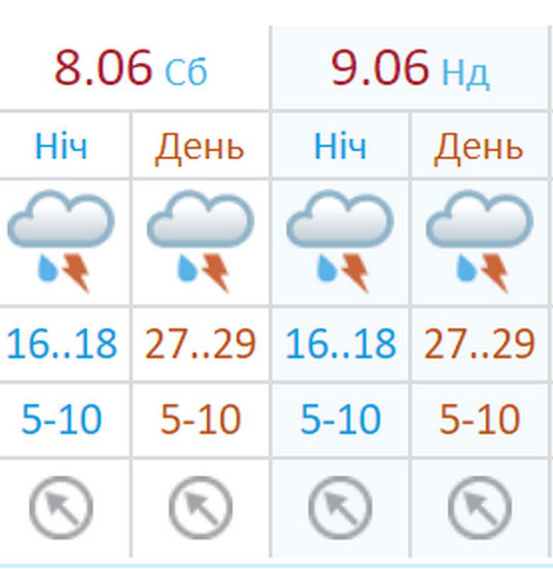 Укргидрометцентр прогнозирует дождливую погоду с грозами