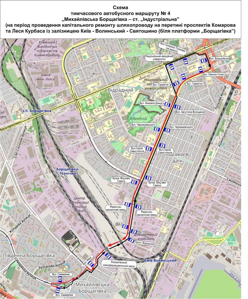 Схема движения автобуса №4