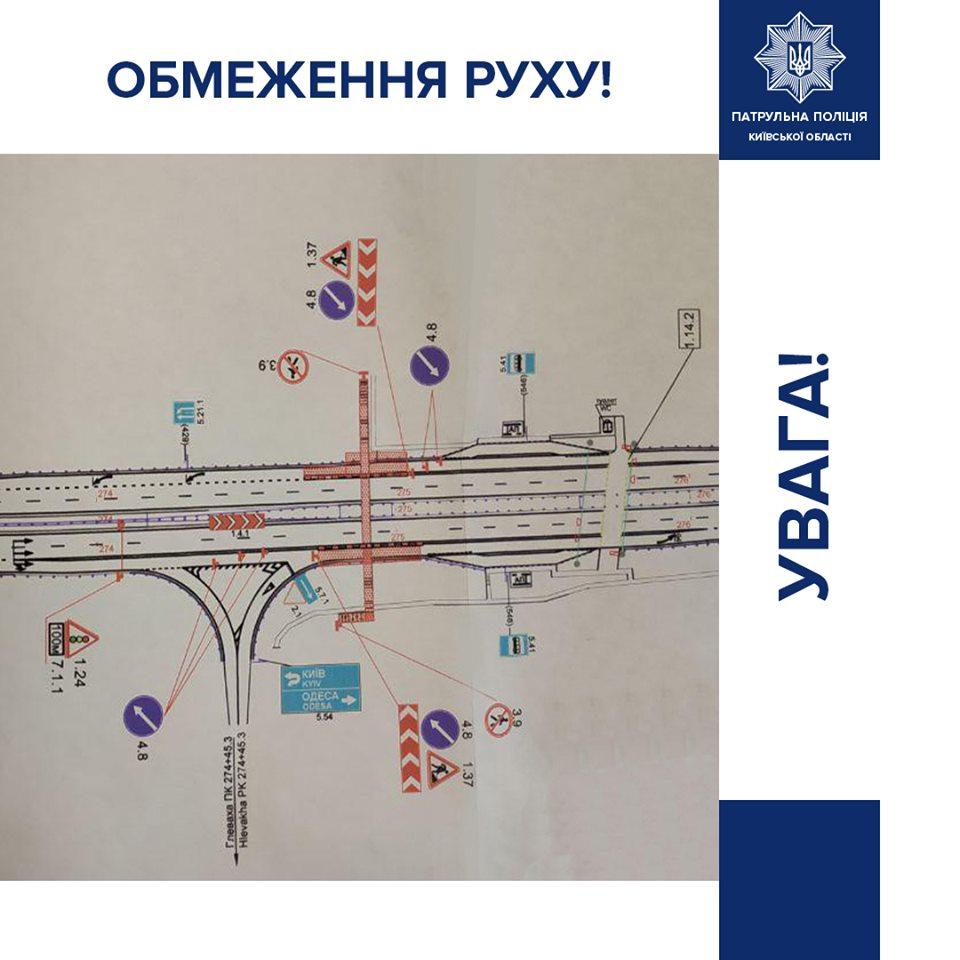 Схема ремонтных работ на 27 километре трассы Киев-Одесса