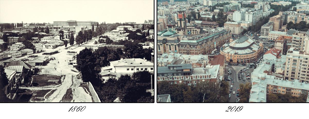 Первое изображение Бессарабской площади, пока еще без рынка