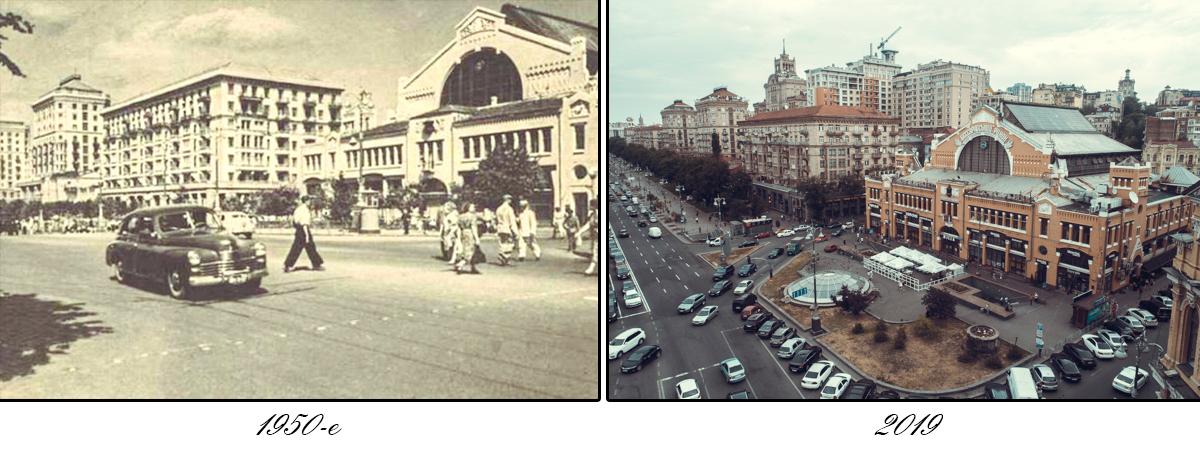 А вот так Бессарабская площадь и рынок выглядели в 1950-х годах