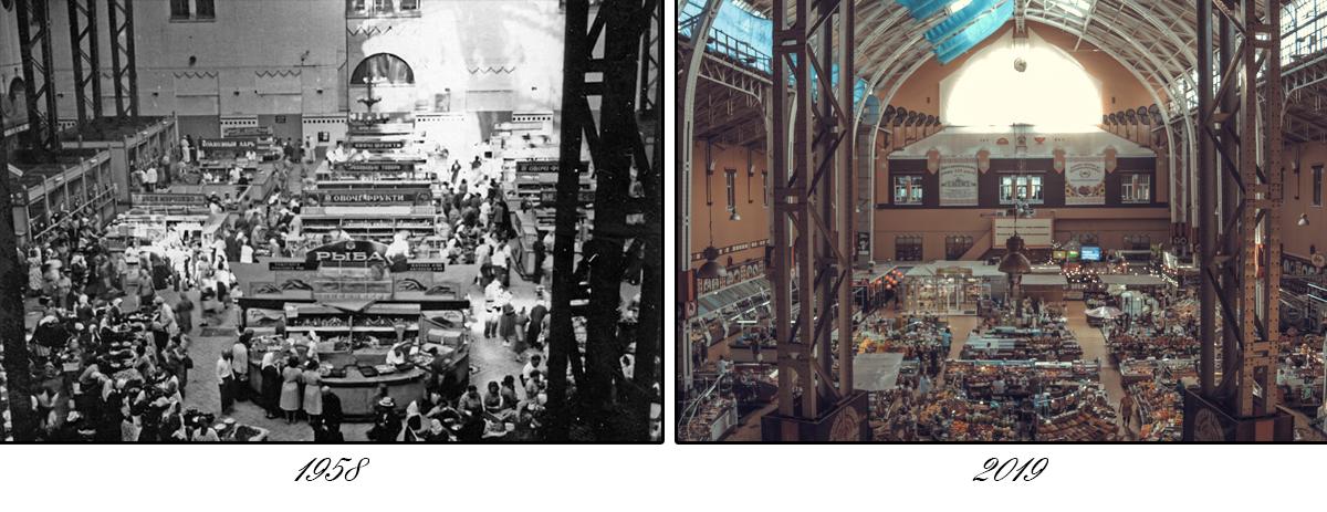 Внутри Бессарабского рынка. Внутреннее убранство изменилось сильнее, чем фасад
