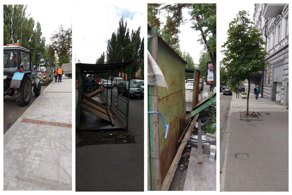 Коммунальные работники демонтировали пешеходную галерею