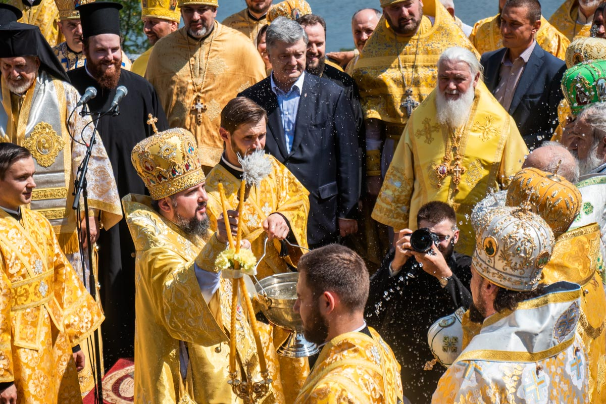 Шествие духовенства и верующих ПЦУ прибыло к Владимирской горке около 12:00