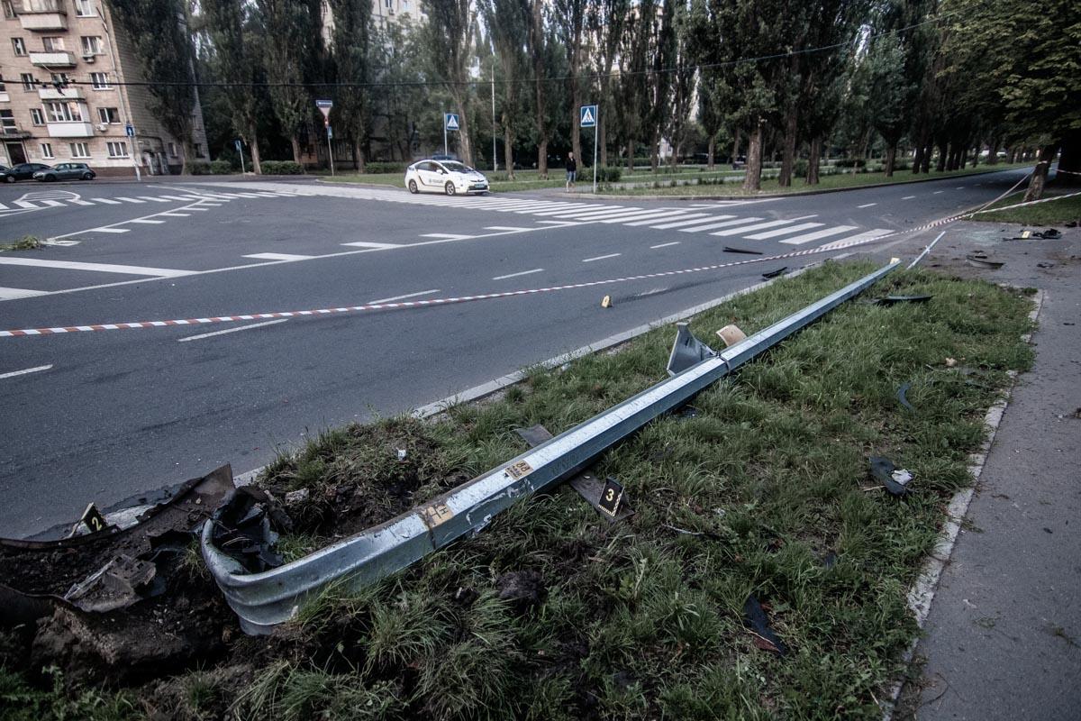"""Авто снесло столб и """"припарковалось"""" в кустах"""