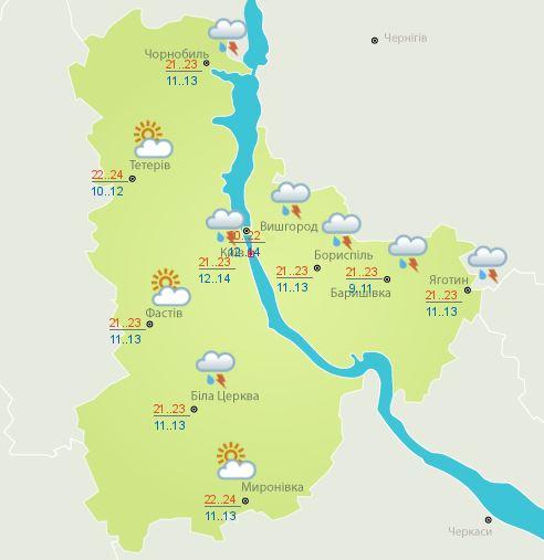 Погода в Киеве и области на 13 июля