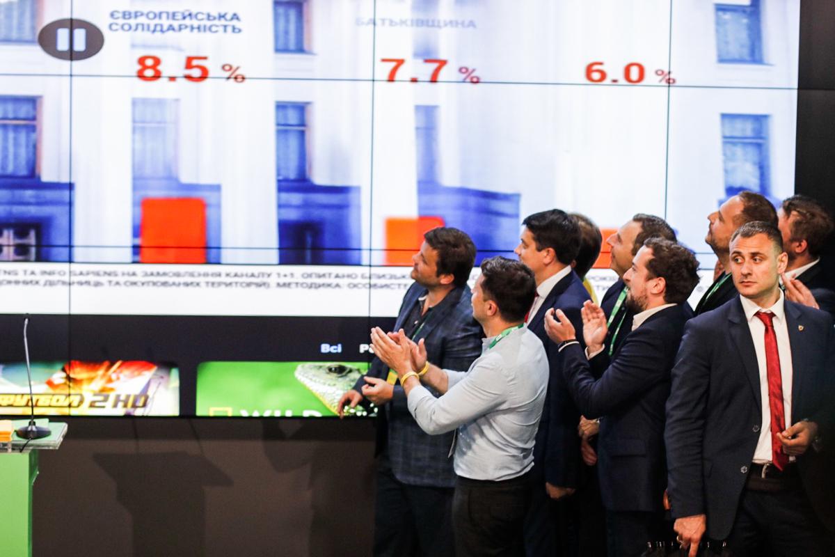 В штабе транслируют экзит-пол от телеканала ТСН