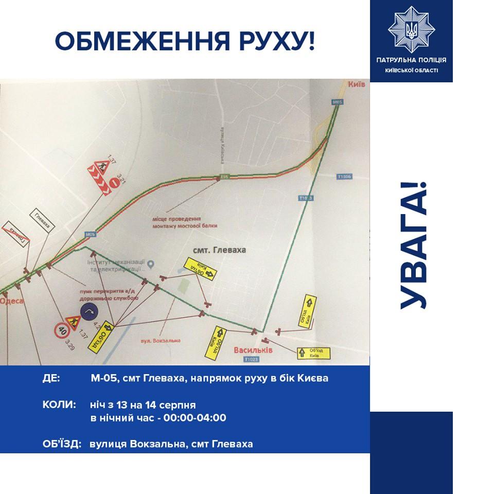 Временная схема объезда трассы Киев - Одесса