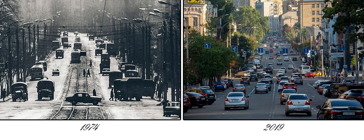 Трамвайных путей здесь больше нет, да и машин стало гораздо больше