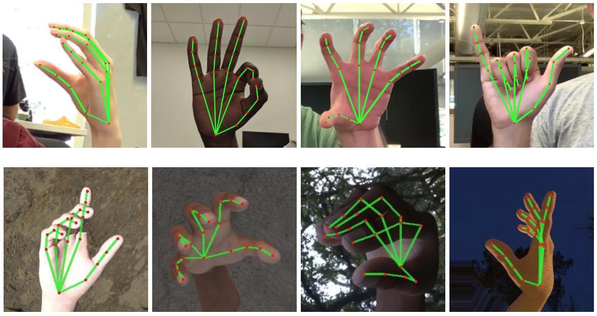 Во время работы алгоритм создает модель руки, состоящую из 21 точки