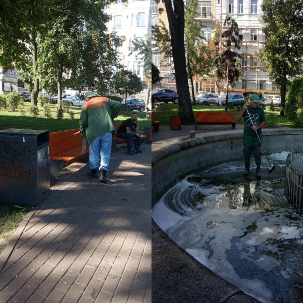 На Контрактовой вандалы изрисовали лавочки, мусорные баки и налили моющее в фонтан
