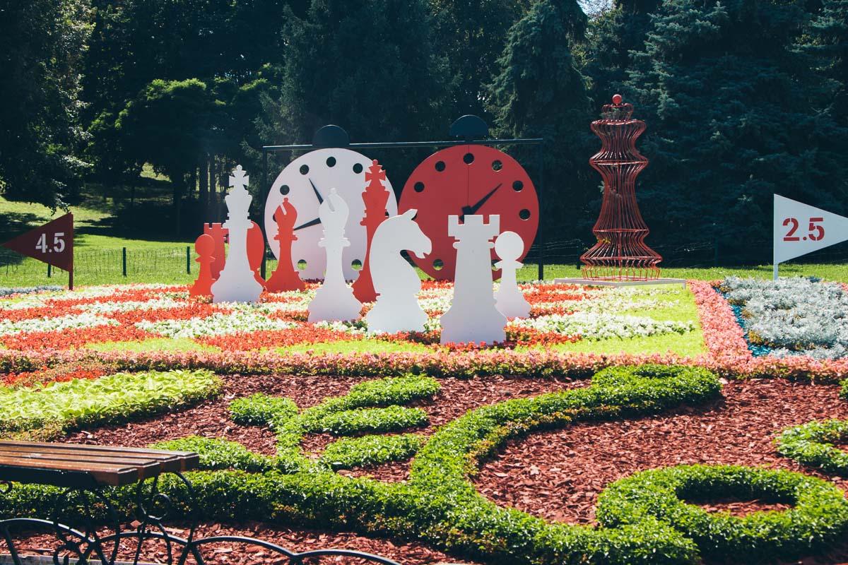 В роли развлечения в ландшафтном парке появились огромные шашки, в которые могут поиграть как детки, так и взрослые