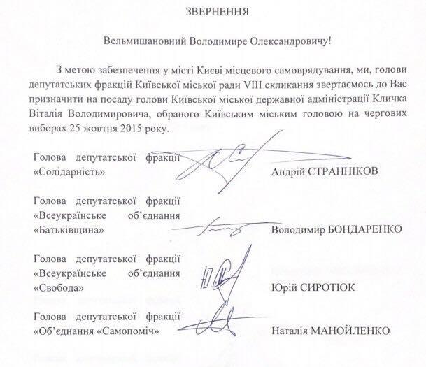 Главы фракций Киевсовета обратились к Зеленскому