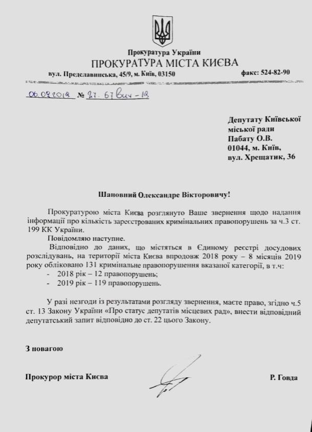 Отчет прокуратуры Киева о фальшивомонетчиках