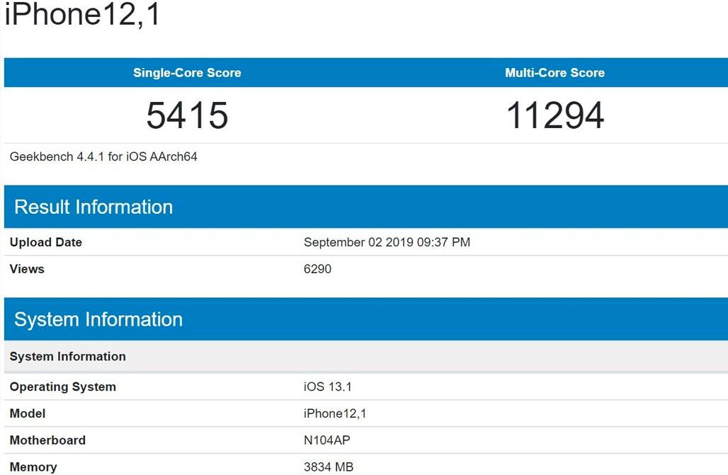 Производительность чипа А13 в Geekbench