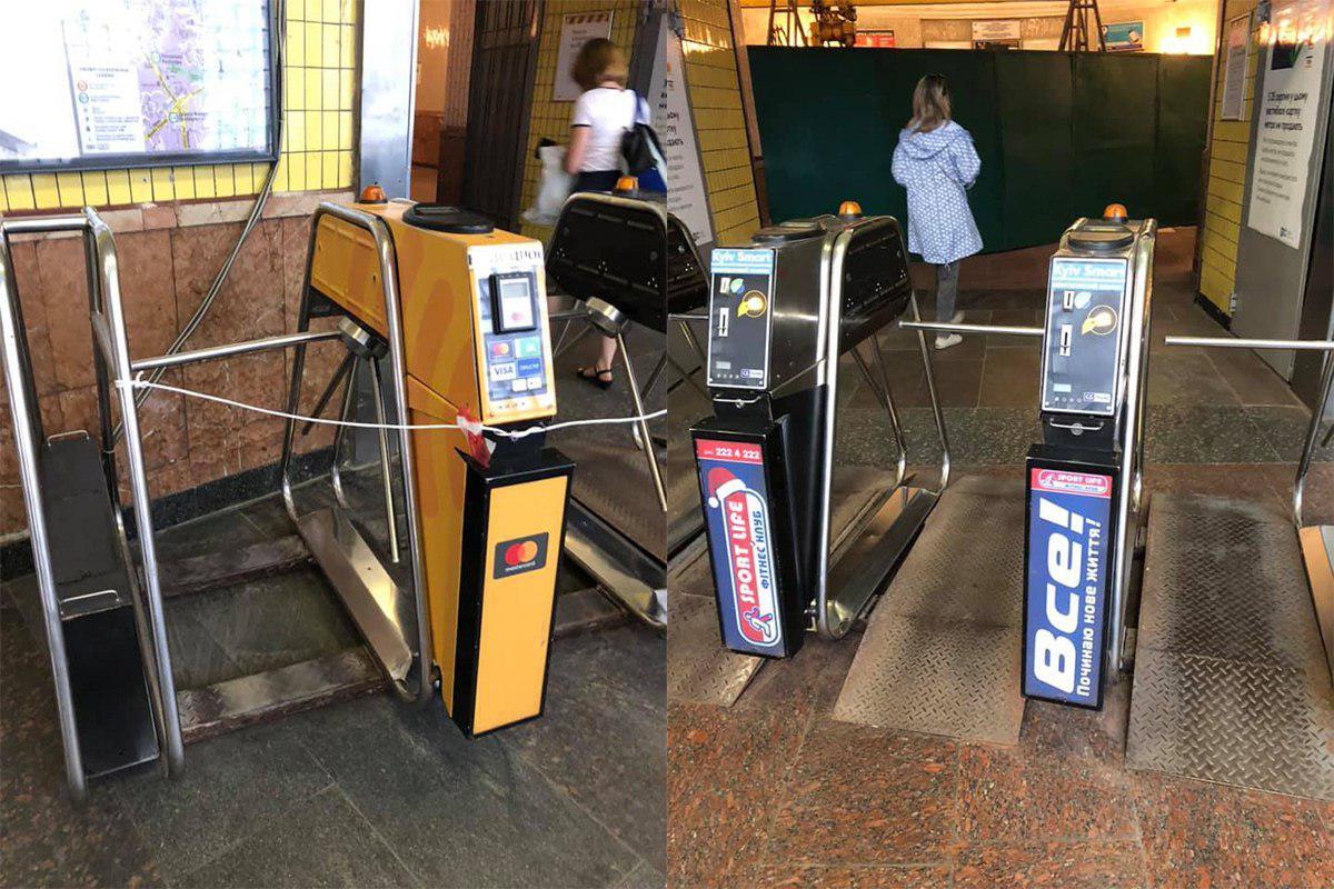 Турникеты пришлось перенести внутрь вестибюля из-за ремонта эскалатора