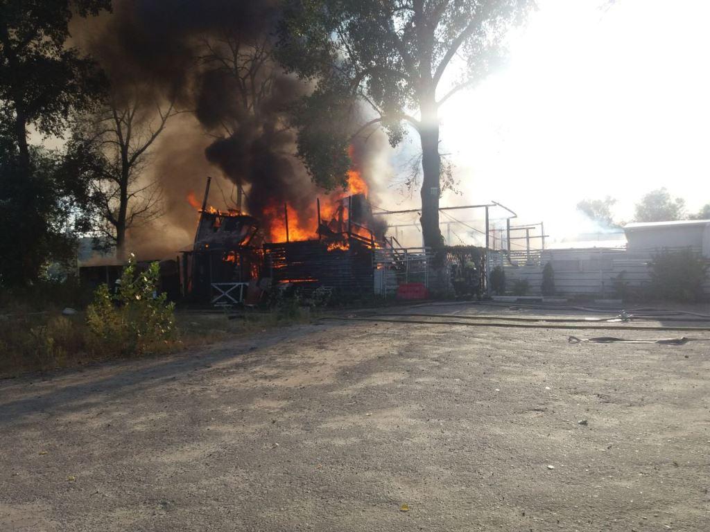 В столичном Гидропарке произошел пожар