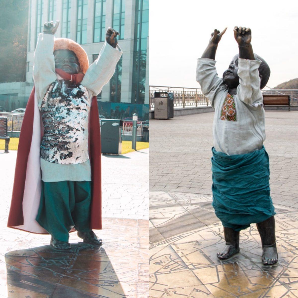 В эти костюмы фигуры принарядили в честь Дня защитника Украины