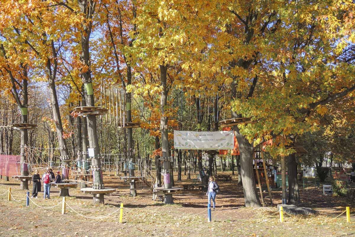 А еще в парке находится веревочный парк