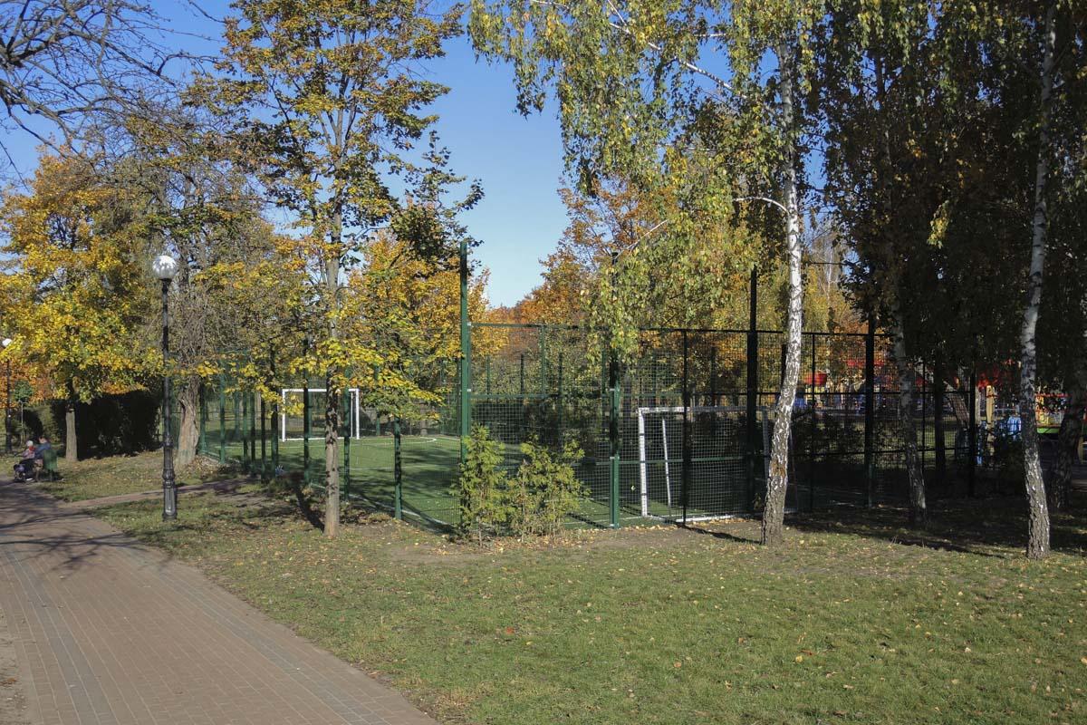 А еще здесь в парке созданы прекрасные условия для занятий спортом - тут и футбольная площадка