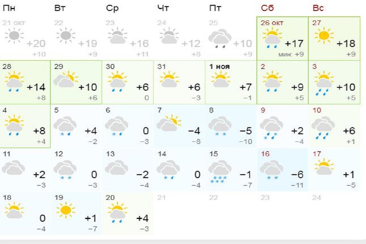 Прогноз на ноябрь от сайта Gismeteo