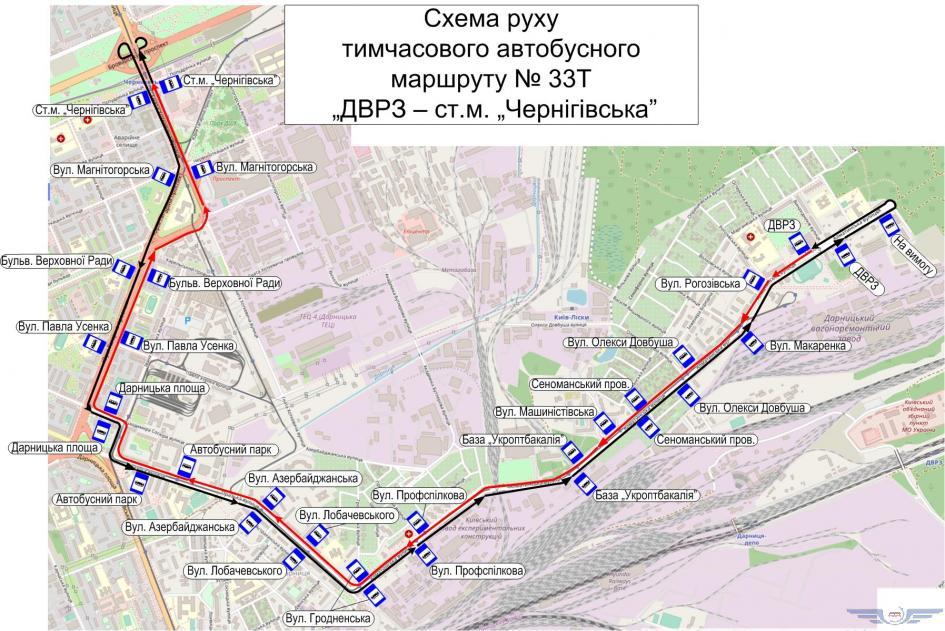 Схема движения автобусного маршрута №33Т