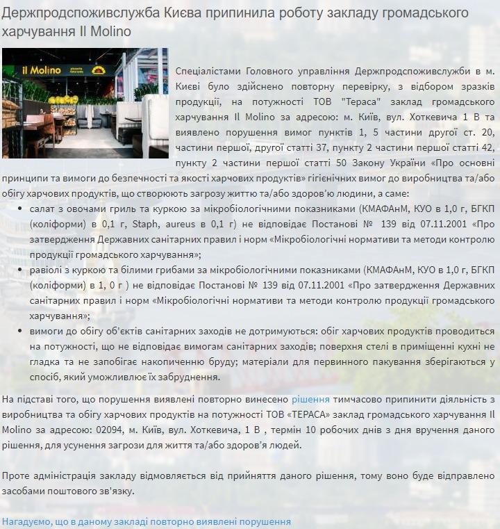 В Киеве в ресторане Il Molino снова нашли нарушения
