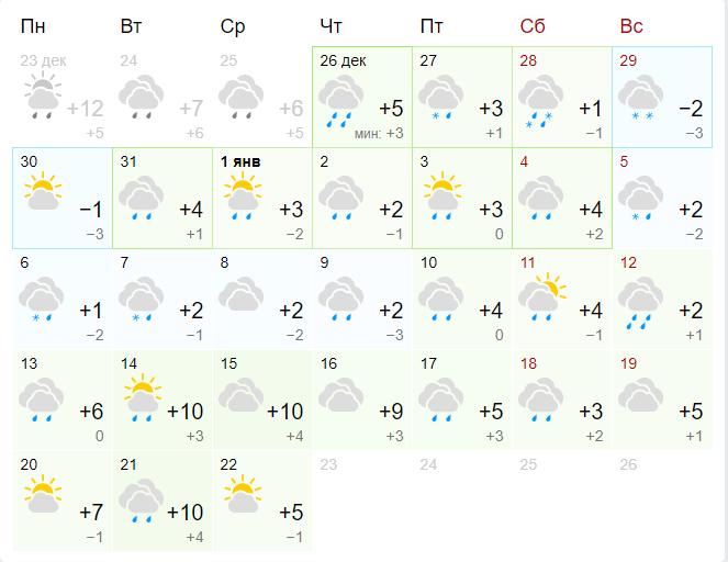 А это прогноз на январь от Gismeteo
