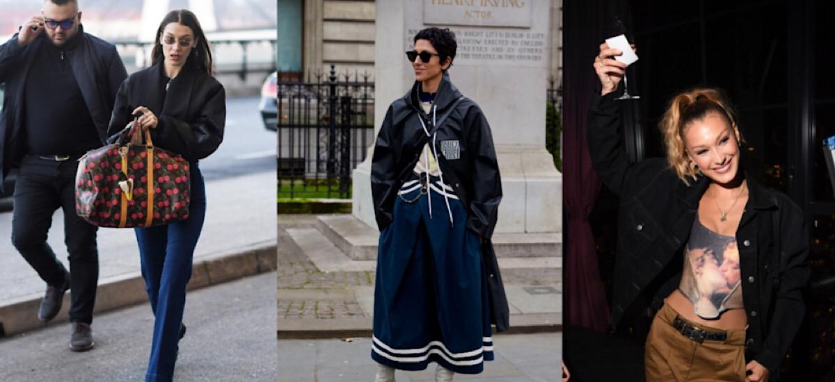 Белла Хадид часто попадает в объективы фотографов в винтажных вещах