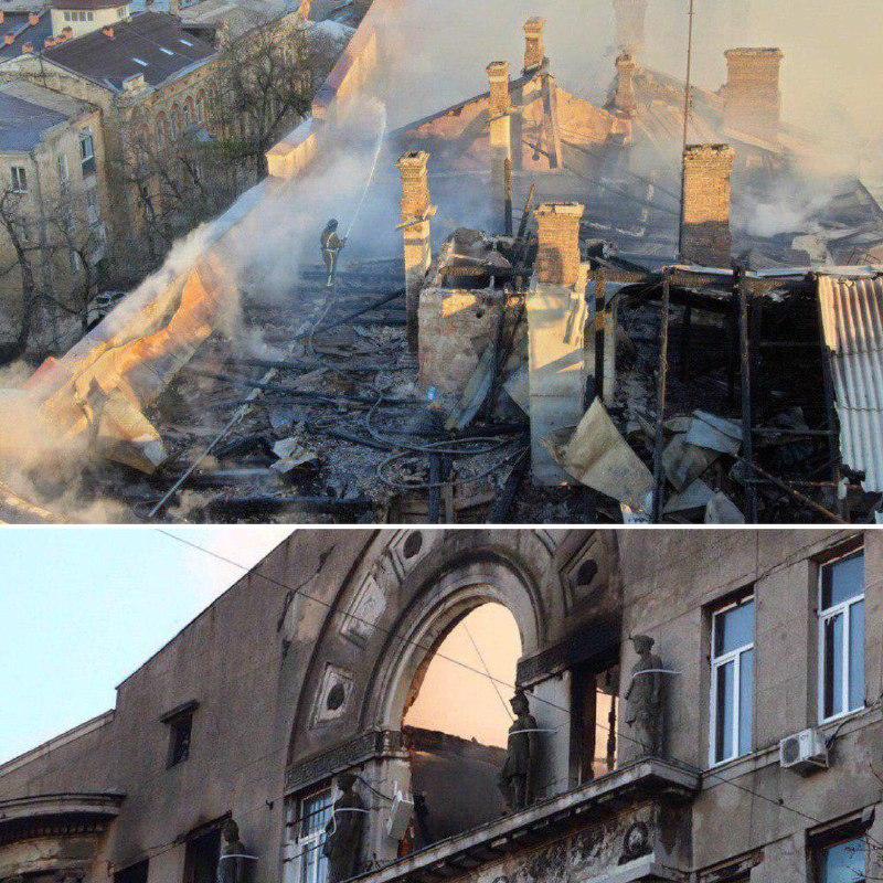 В результате пожара здание очень серьезно пострадало