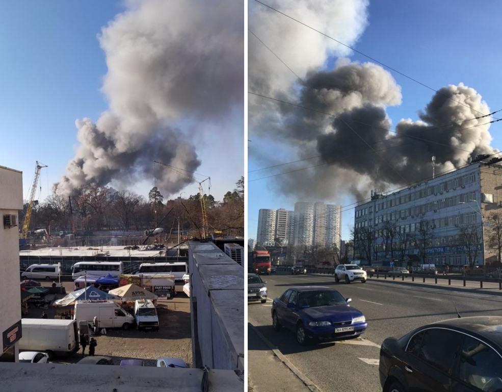 Черный дым видно с разных районов столицы