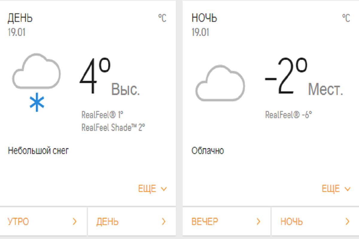 Этот сайт обещает довольно теплую погоду на Крещение