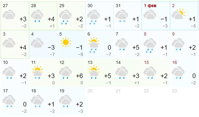 Прогноз на февраль от Gismeteo