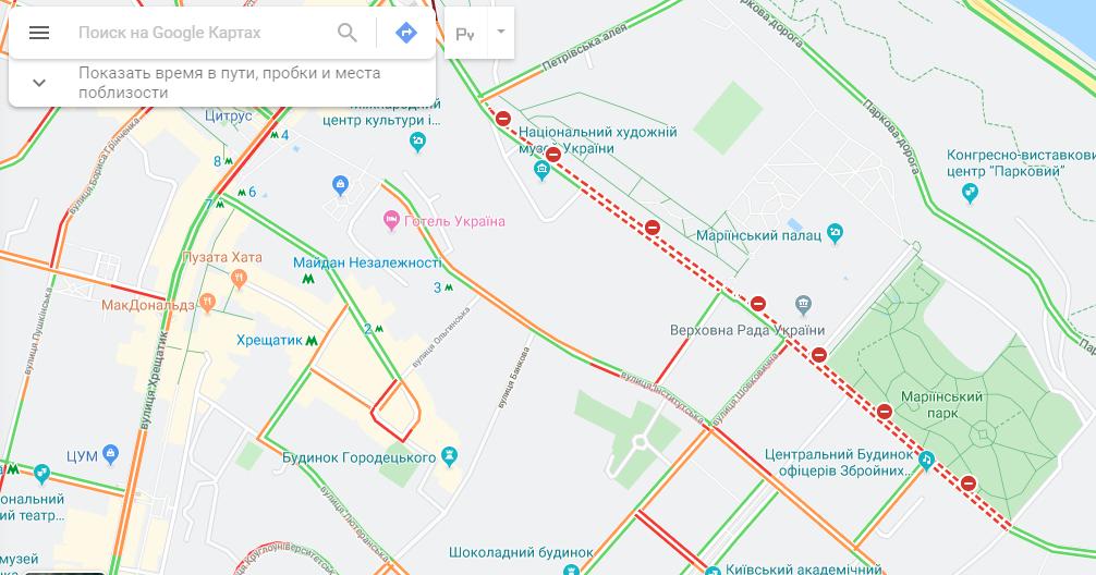 В результате перекрытия улиц митингующими в центре Киева образовались пробки