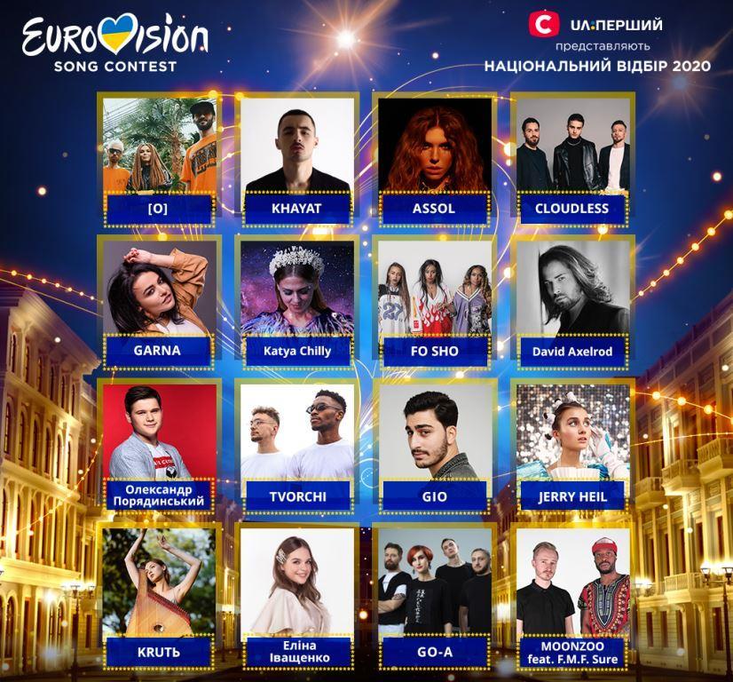 16 участников нацотбора, которые могут представить Украину на Евровидении 2020
