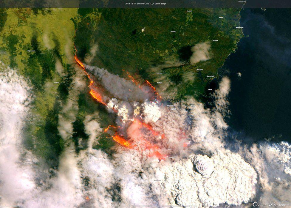 Спутниковое изображение залива Бейтманс в новогоднюю ночь. Фото BBC